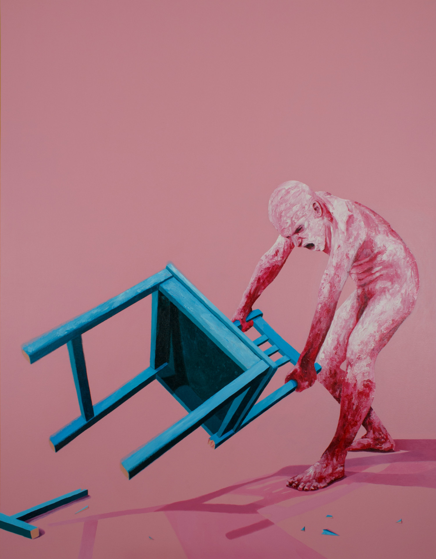 oscar delmar illustration colour surreal portraits pink chair