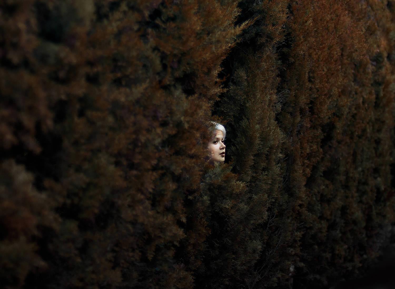 face hidden in bushes