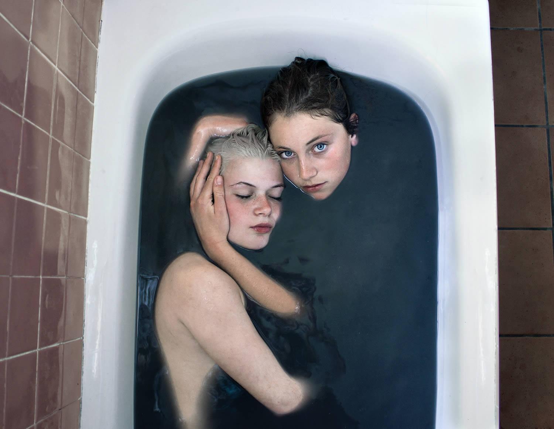 girls in bath tub
