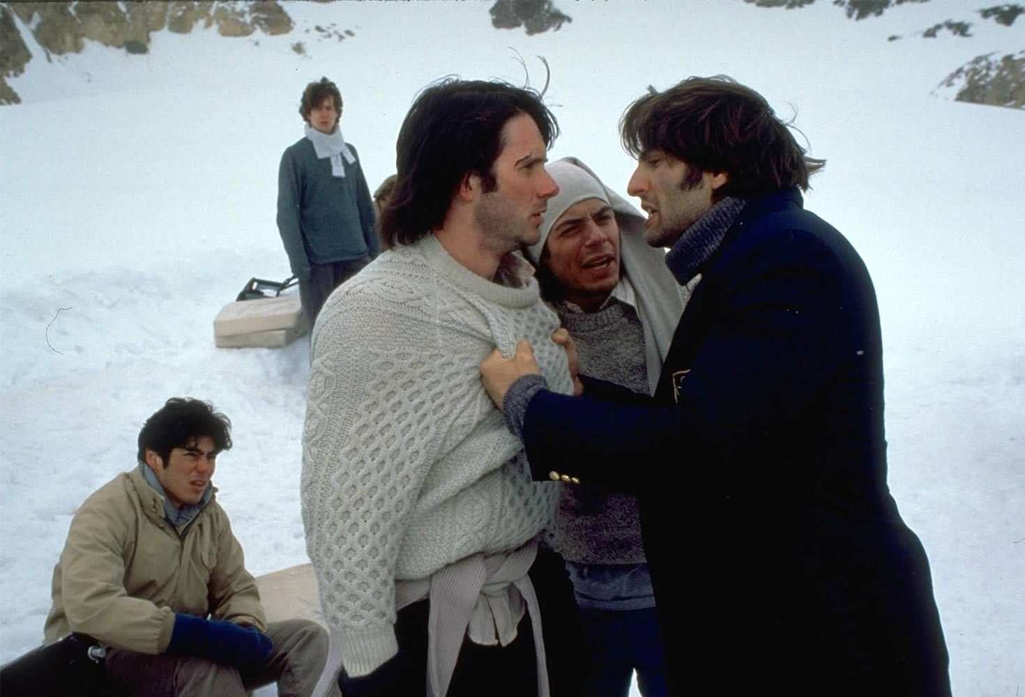 plane survivors argue in alive movie