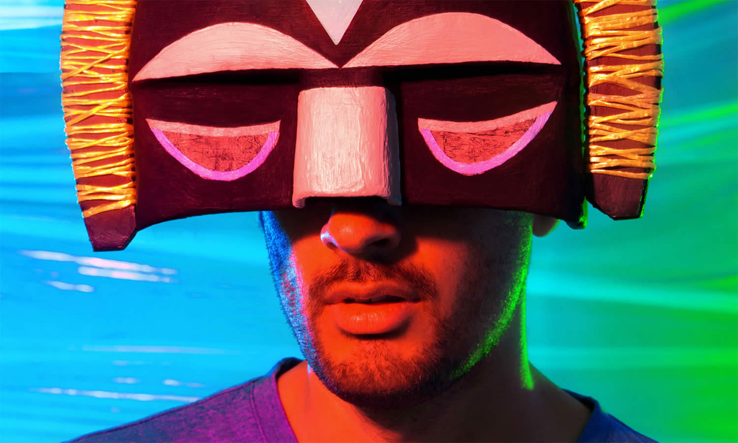 SBTRKT wearing a ceremonial mask
