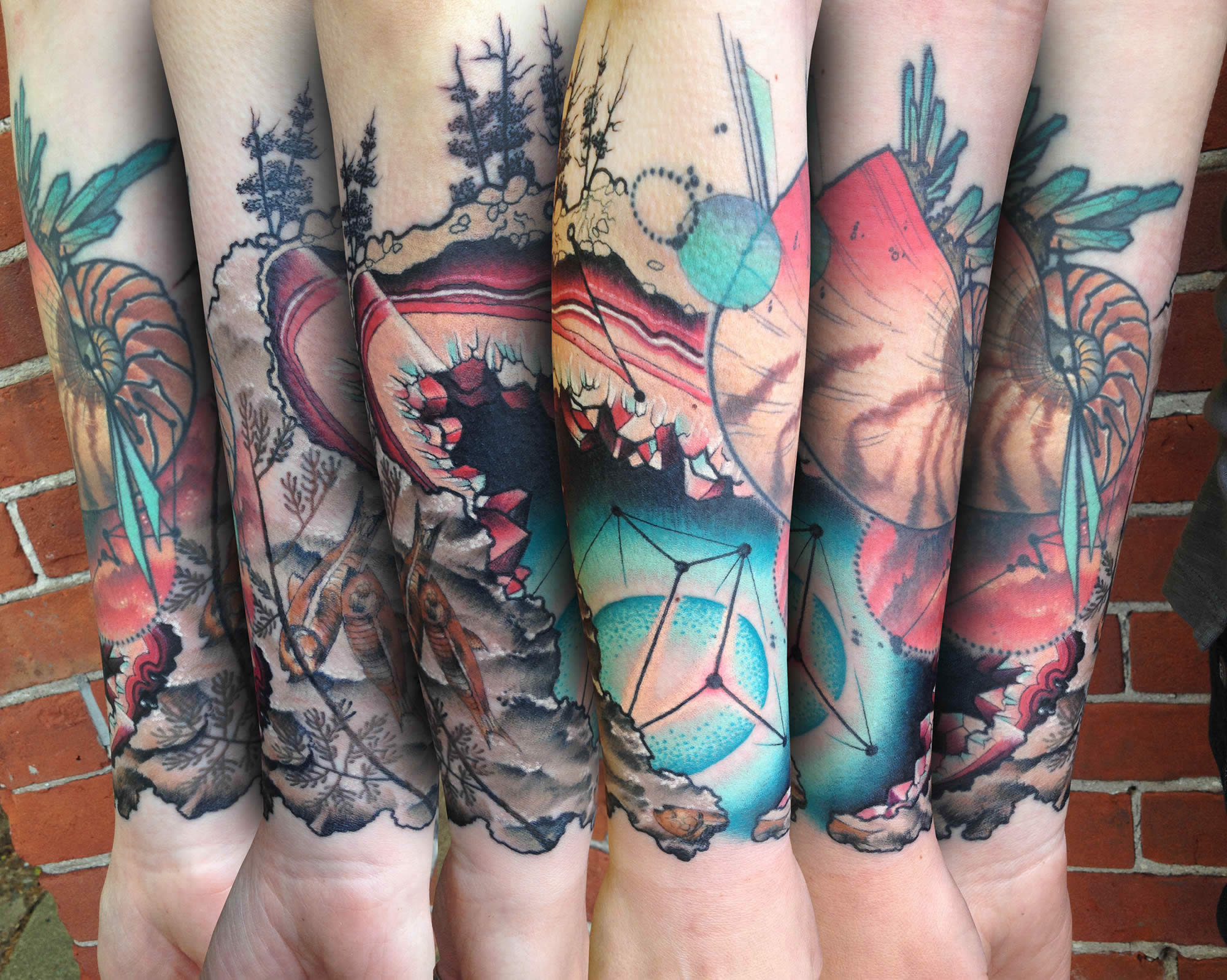 cellestial, rock gemstone, trees, nature tattoo by cody eich
