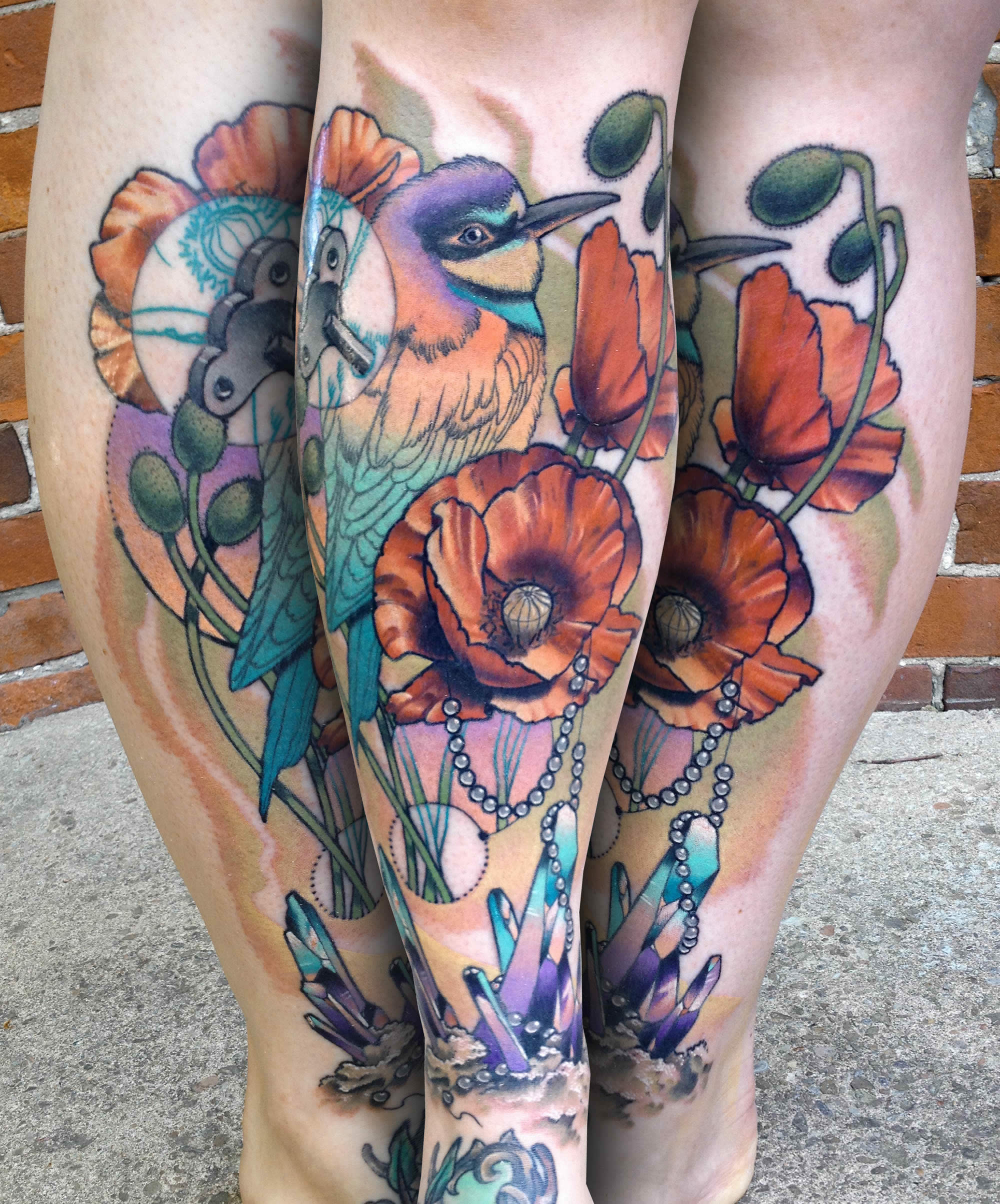 bird and flower tattoo by cody eich