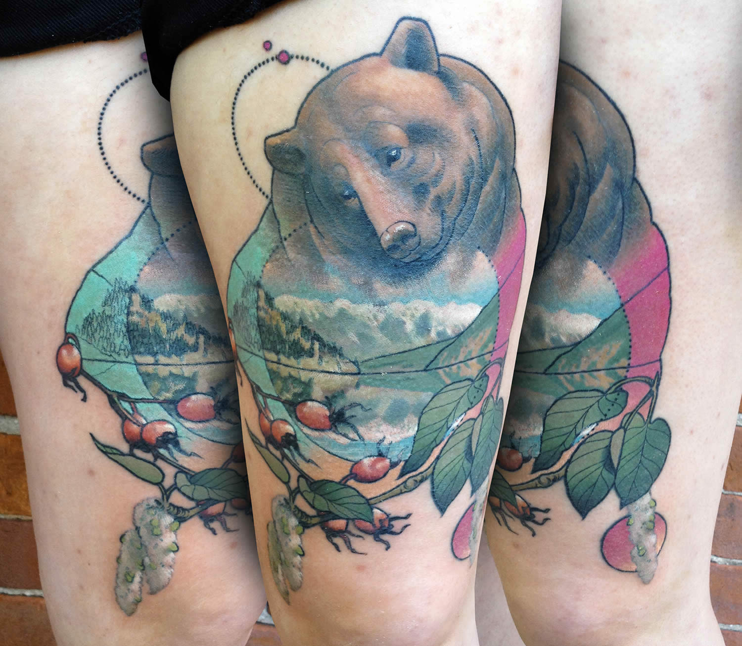 bear with mountain scene tattoo, nature, by cody eich