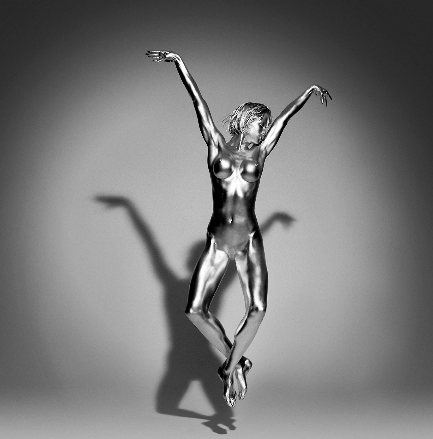guido argentini fashion photography silver model nude jump