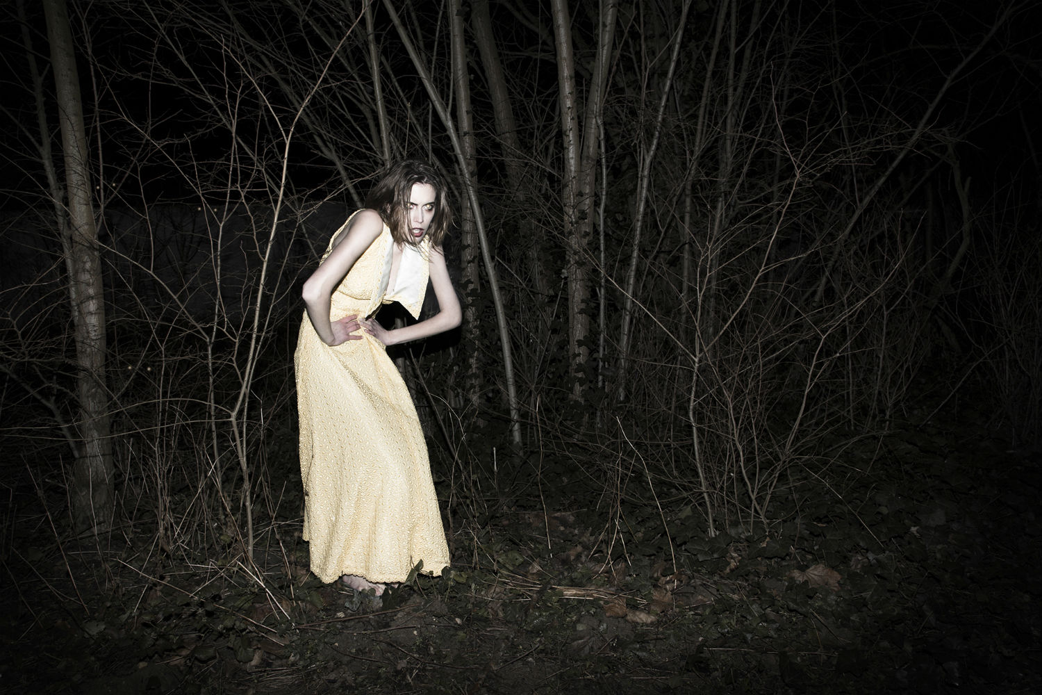 coline gascon fashion photography darkness woods