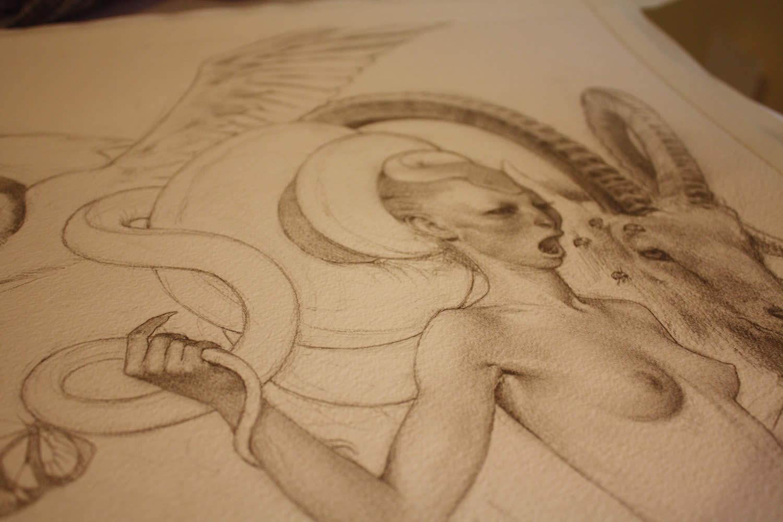 mythology woman, drawing close-up