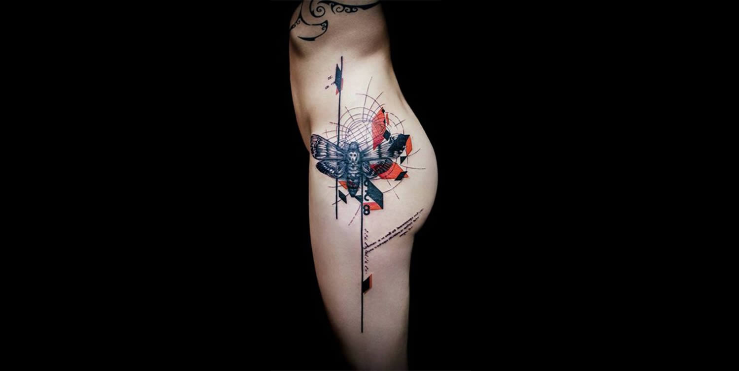 moth and geometric shapes, tattoo by klaim