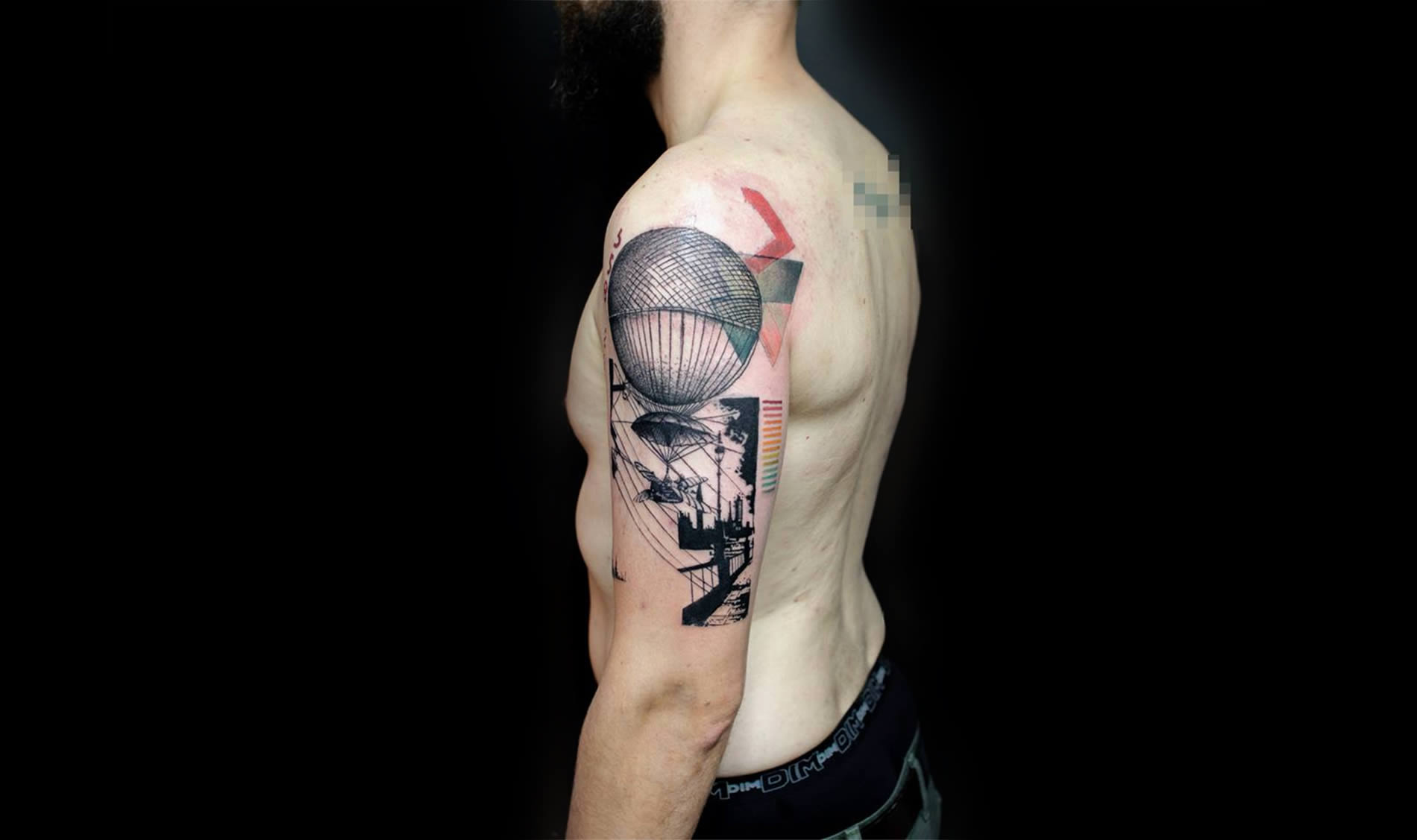 air balloon tattoo, stencil style by klaim