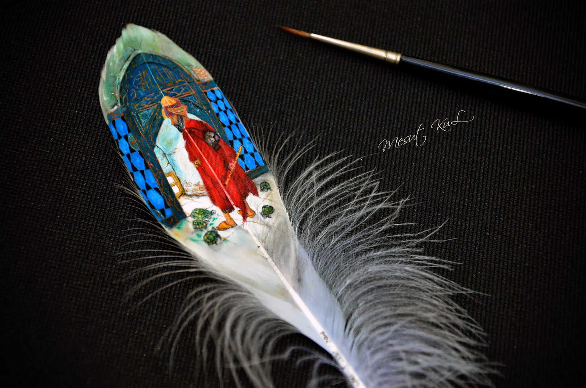 mesut kul painting miniature feather