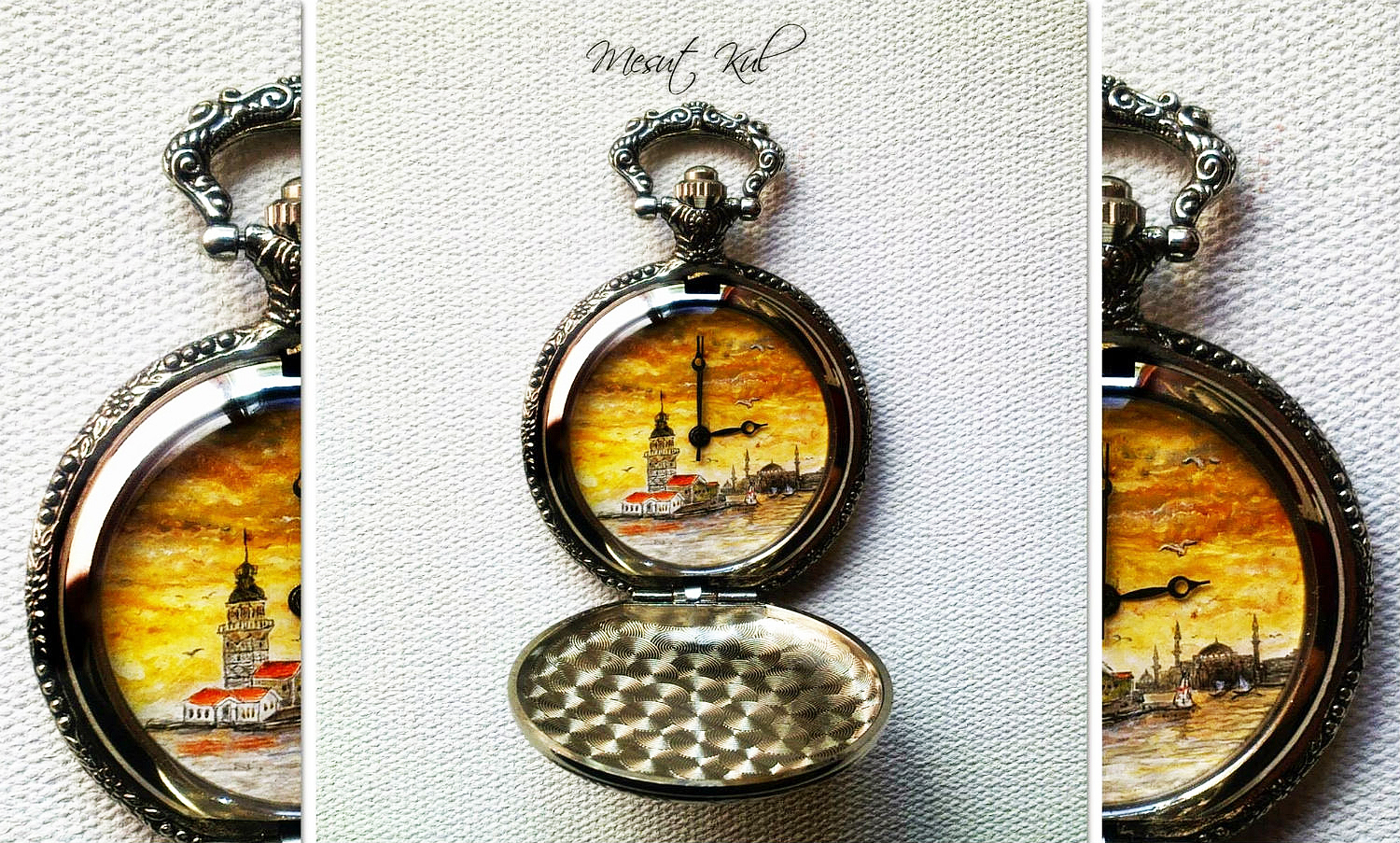 mesut kul painting miniature old fashioned watch