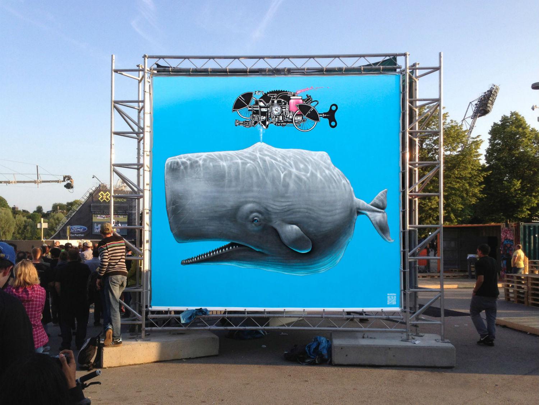 never crew street art whale marine life mural colour blue whale
