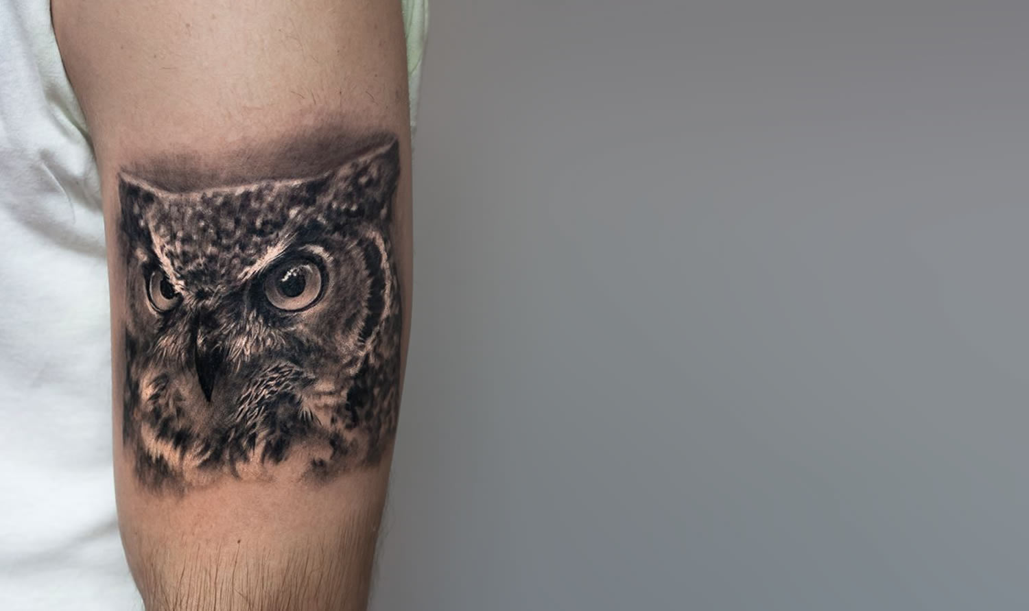 realistic owl tattoo  by paolo murtas
