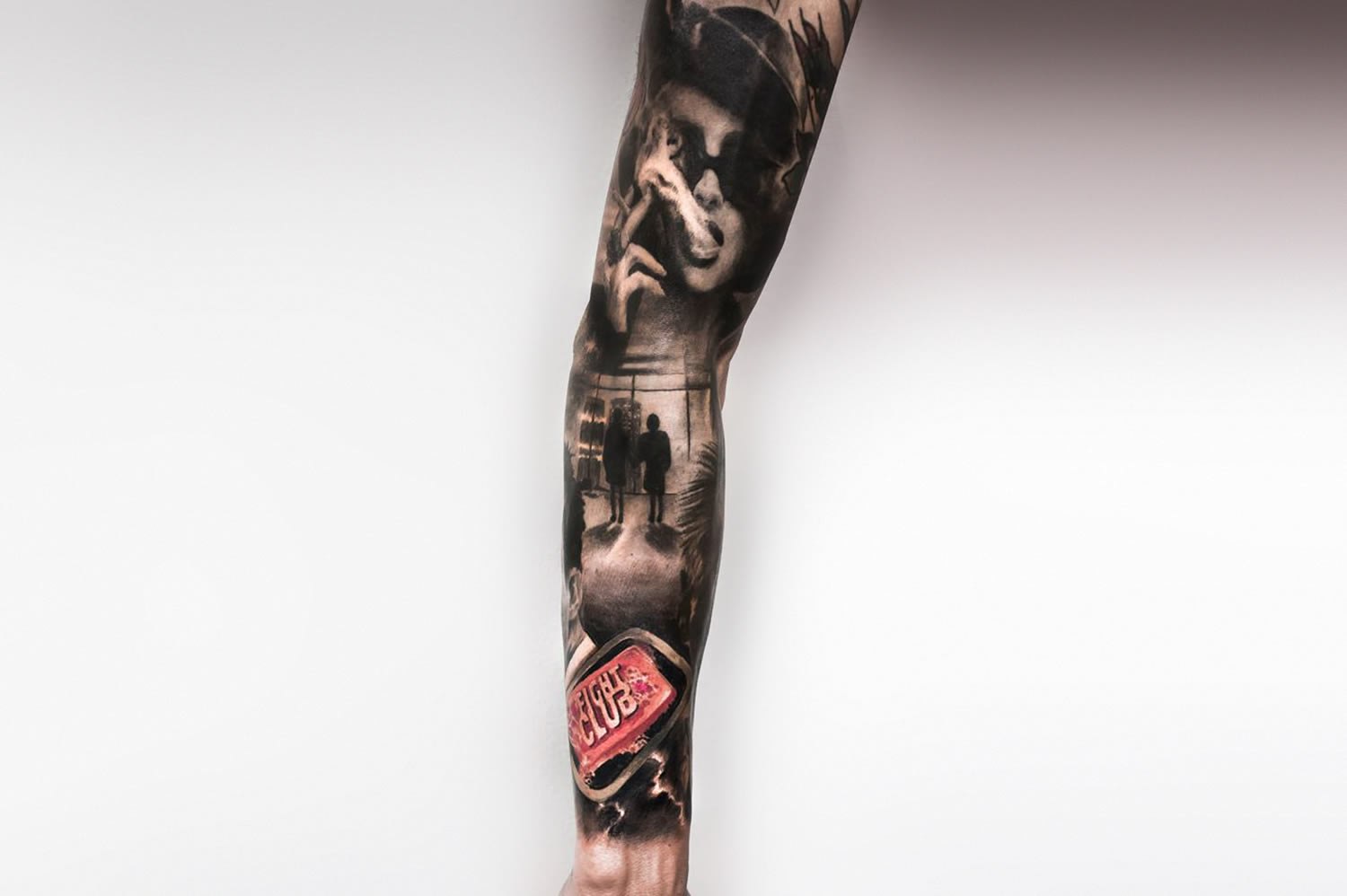 fight club marla and soap tattoo sleeve  by paolo murtas