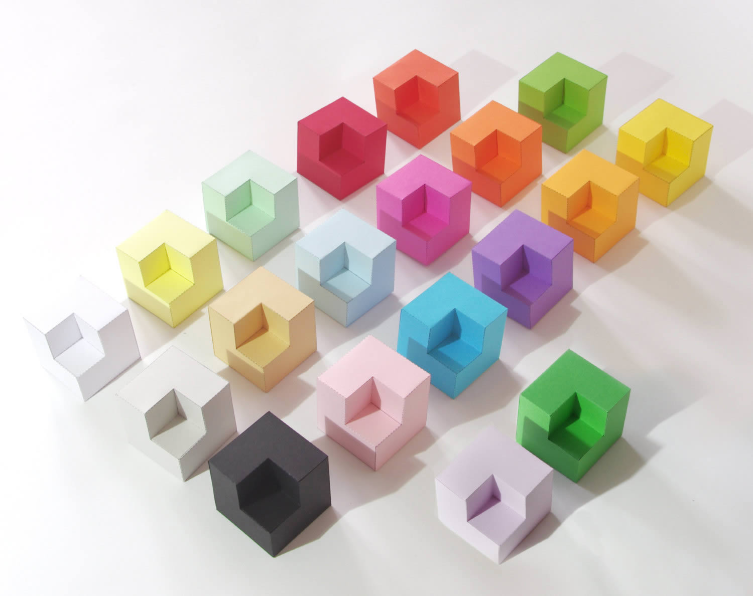 colored cubes made from paper