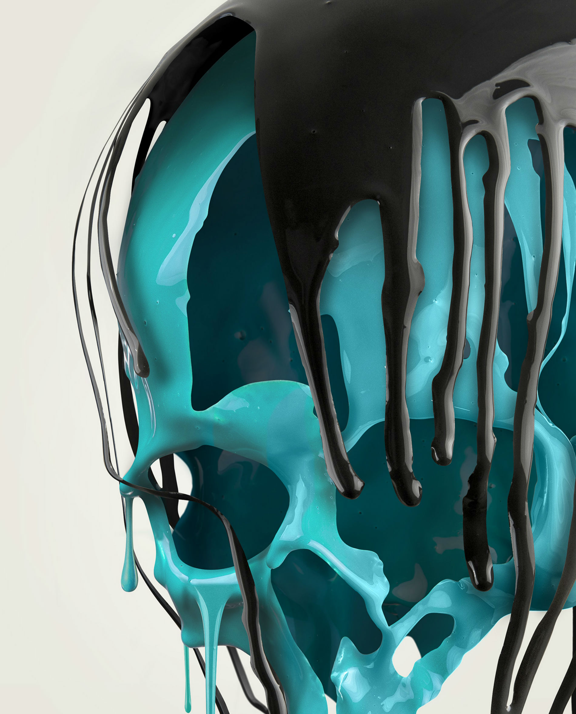 paul hollingworth digital skull green black art