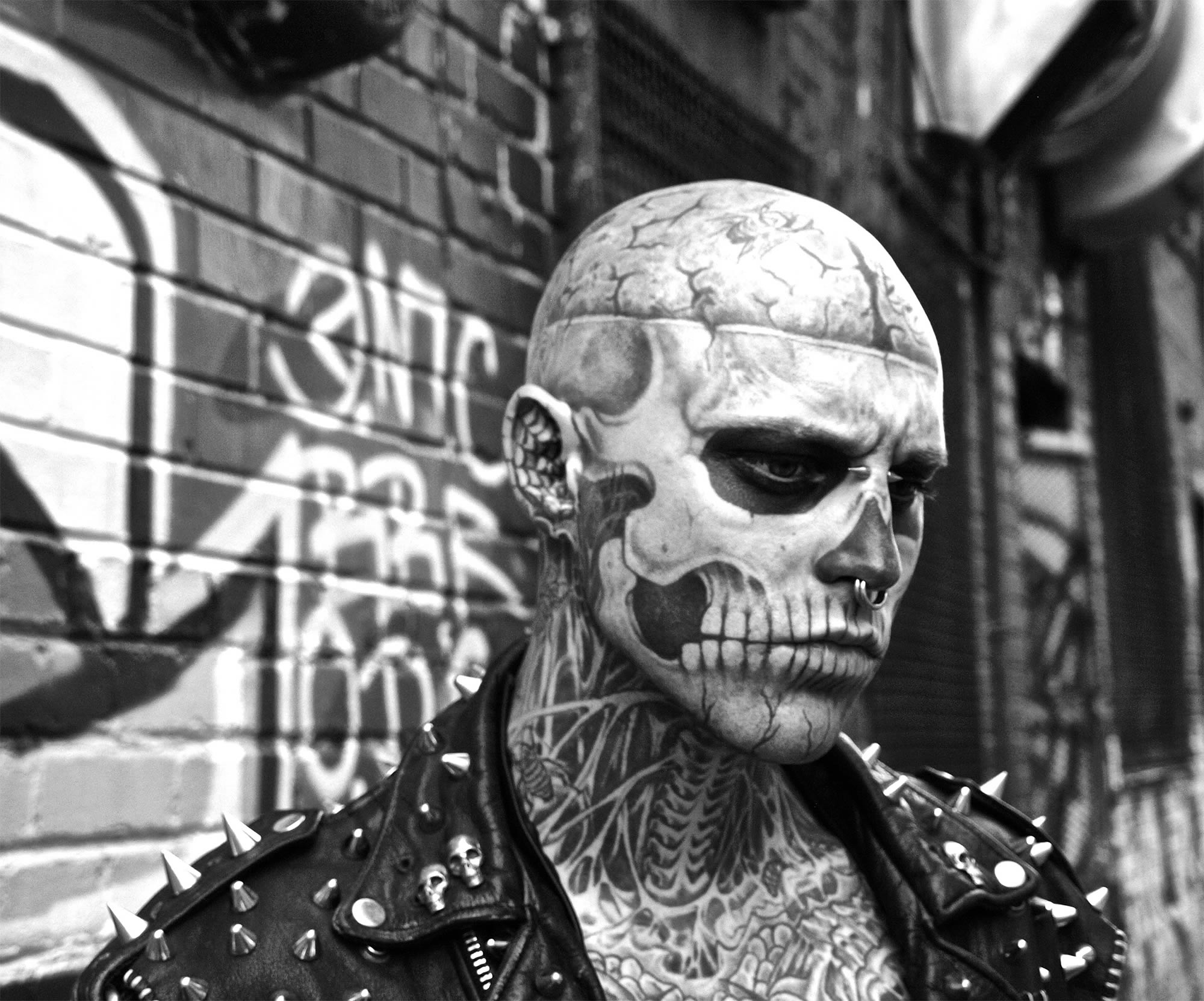 38aba6c71a12c An Interview with the Extremely Tattooed Zombie Boy | Scene360