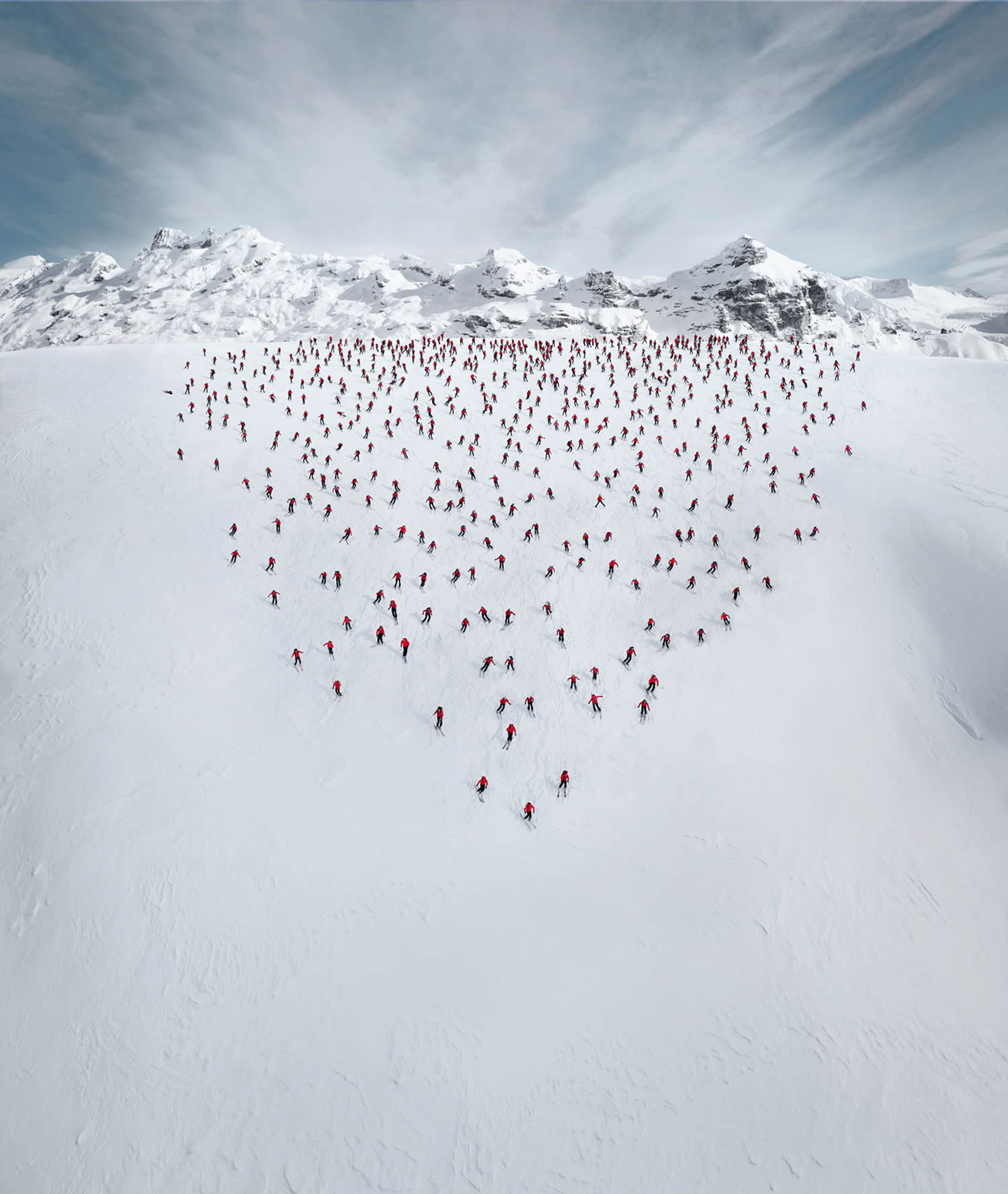 red clothed men on snowy mountain, Robert Bösch mammut