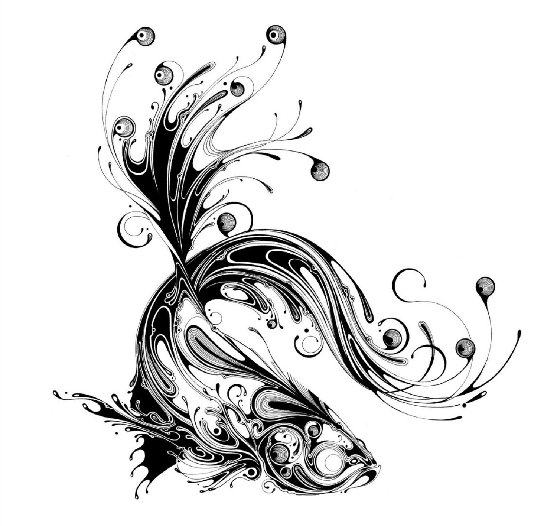 si scott illustration black and white goldfish