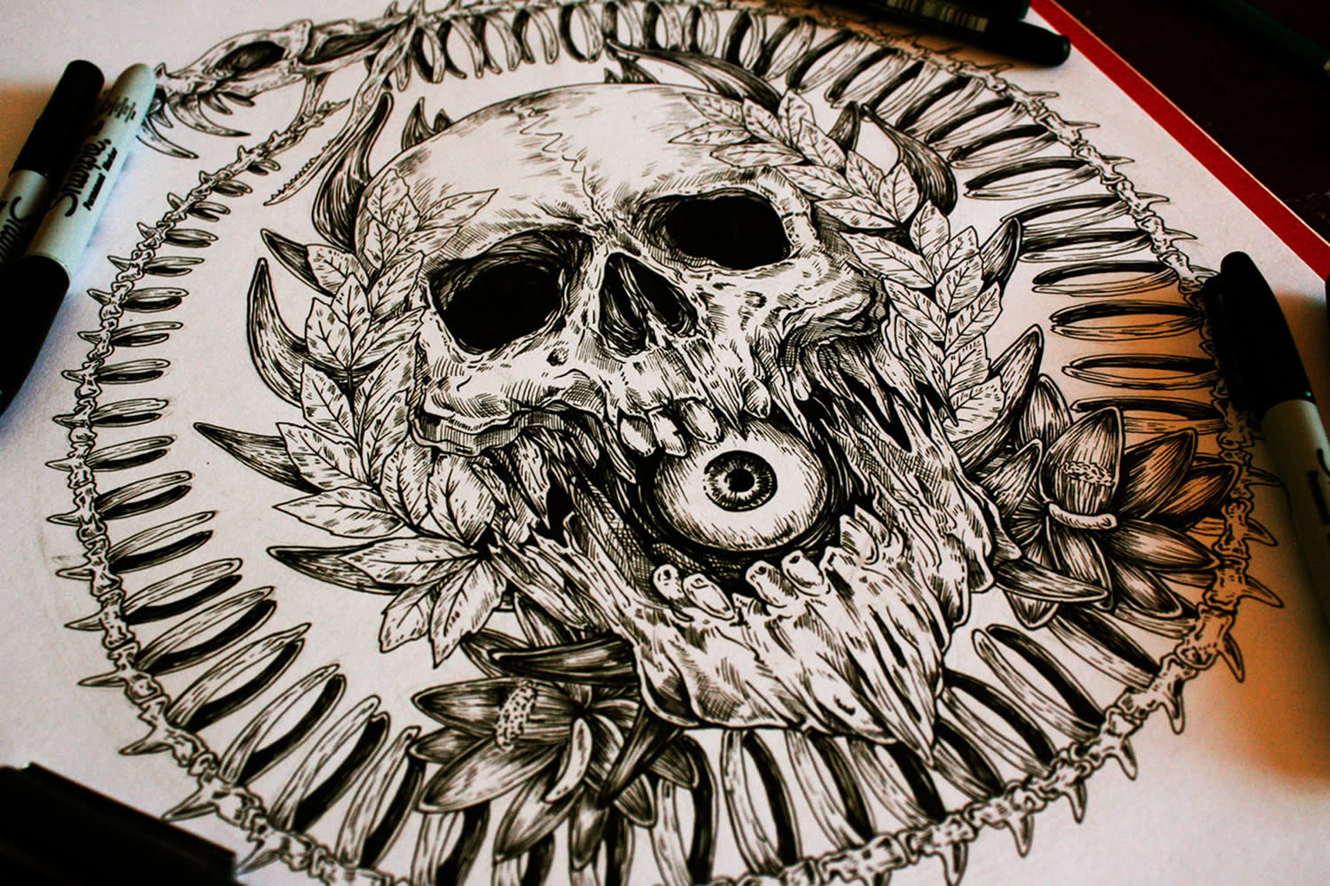 ouroboros, skull and eye by e.g. the freak