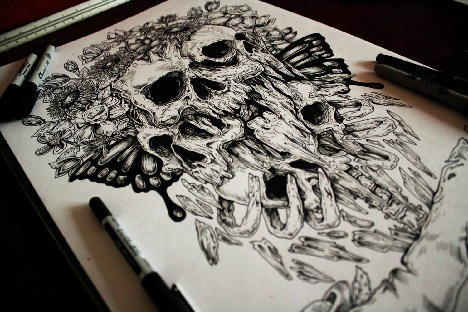human skull in black ink by e.g. the freak