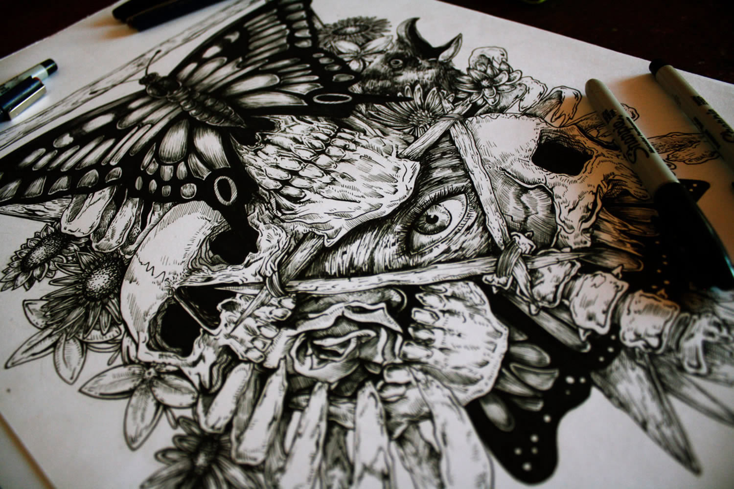 ink drawing with butterfly and eye of providence, metamorphosis by e.g. the freak