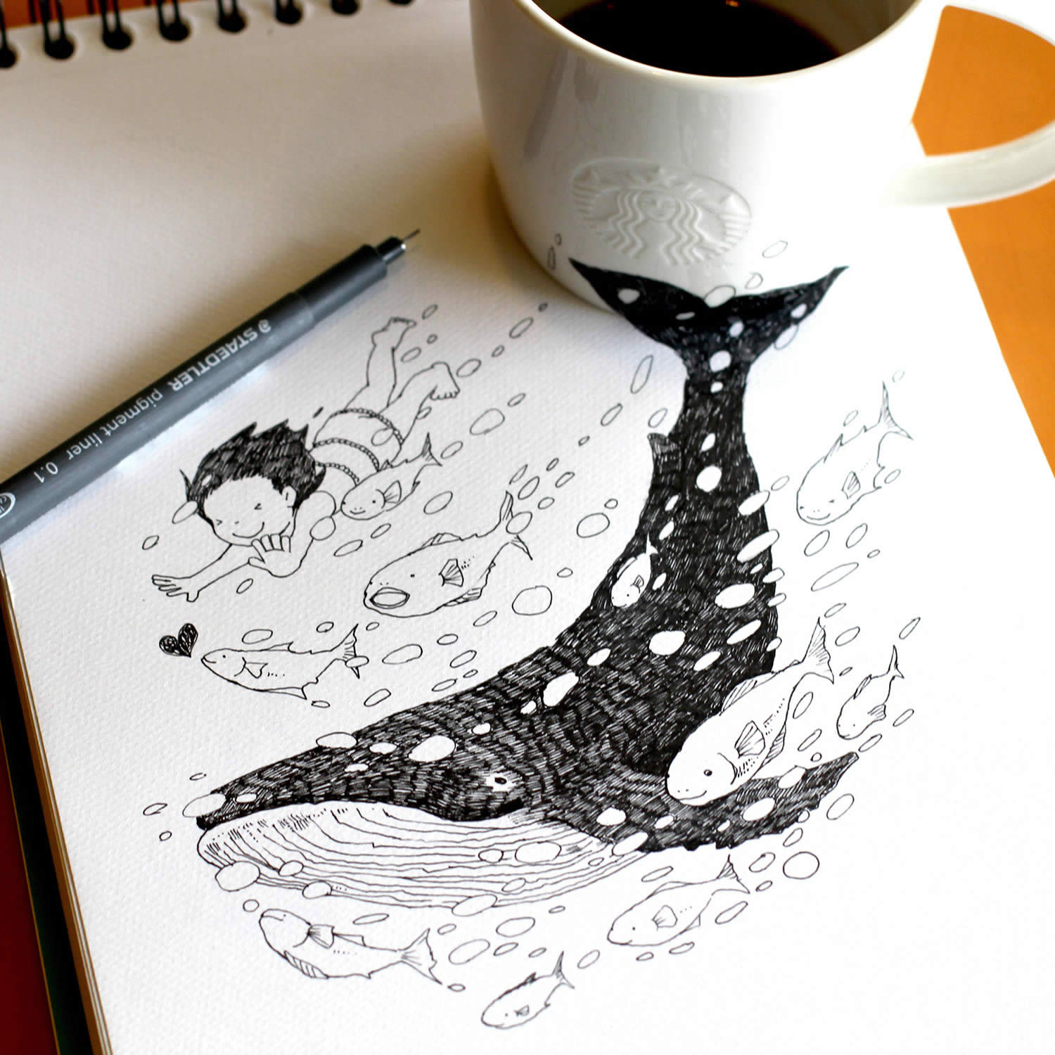 whale swimming with child, anamorphic art by tokomo-shintani