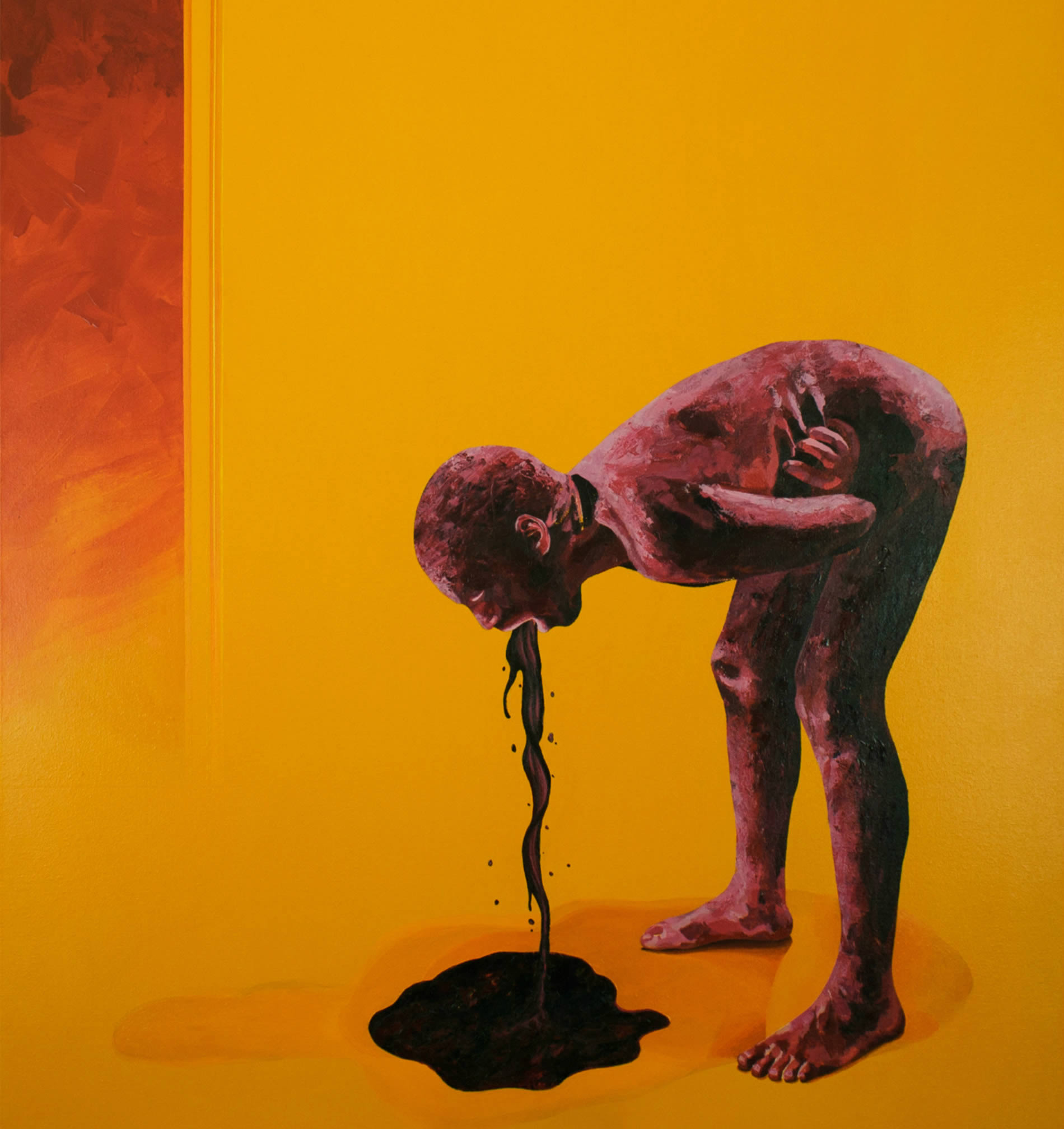 man vomittin,painting by oscar delmar, yellow room