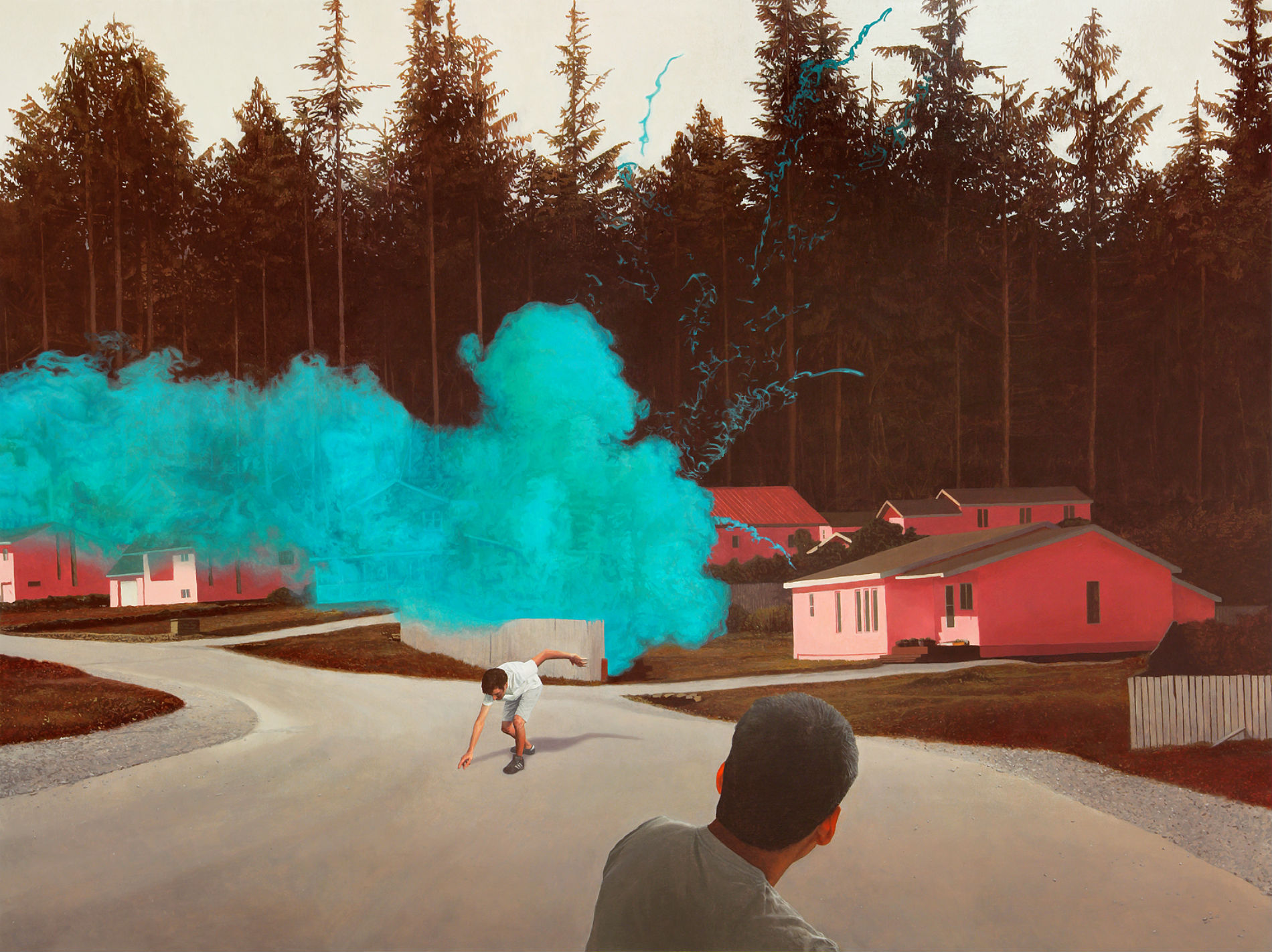 alex roulette painting hyper real landscape colour smoke skate