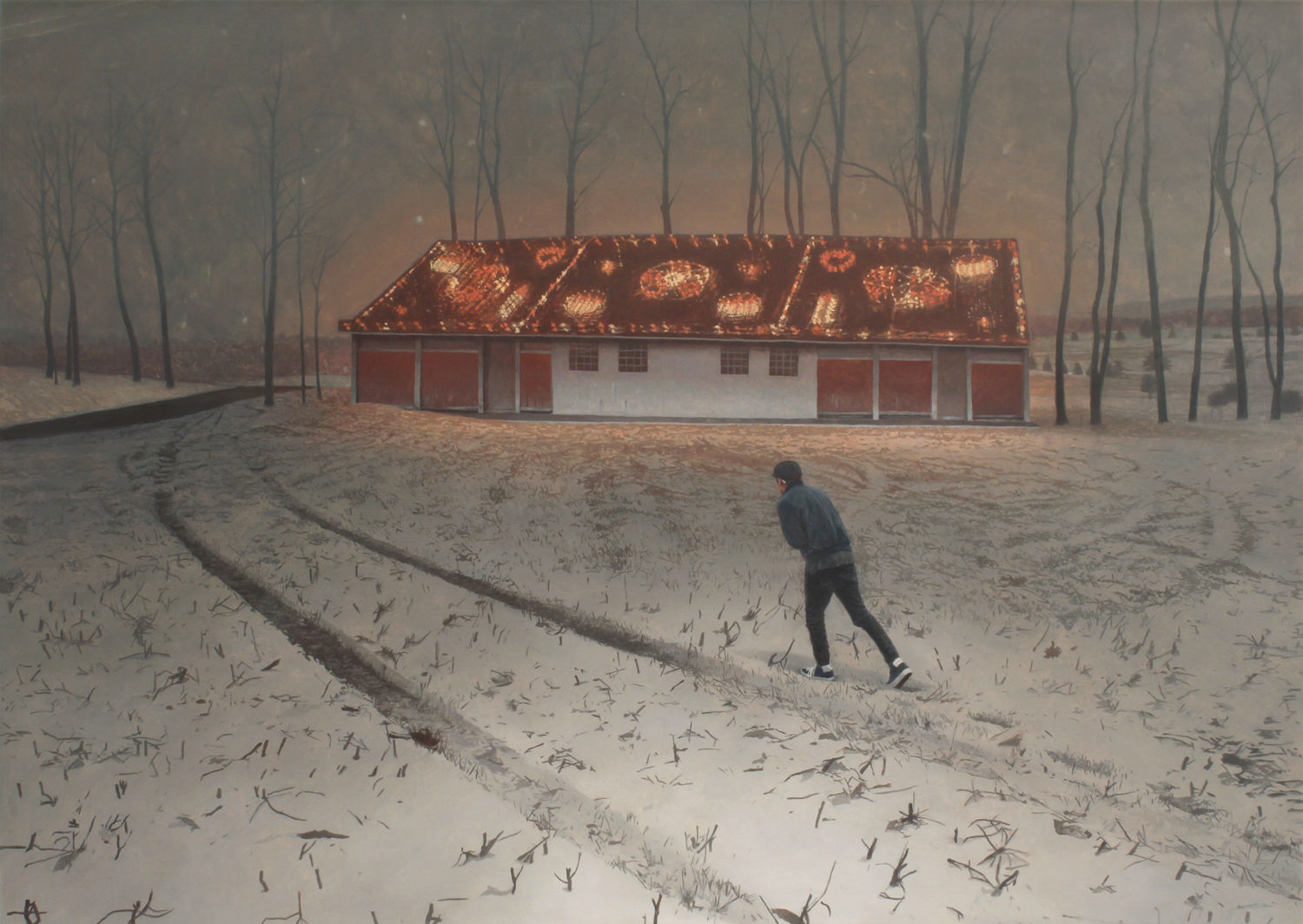 alex roulette painting hyper real landscape colour snow