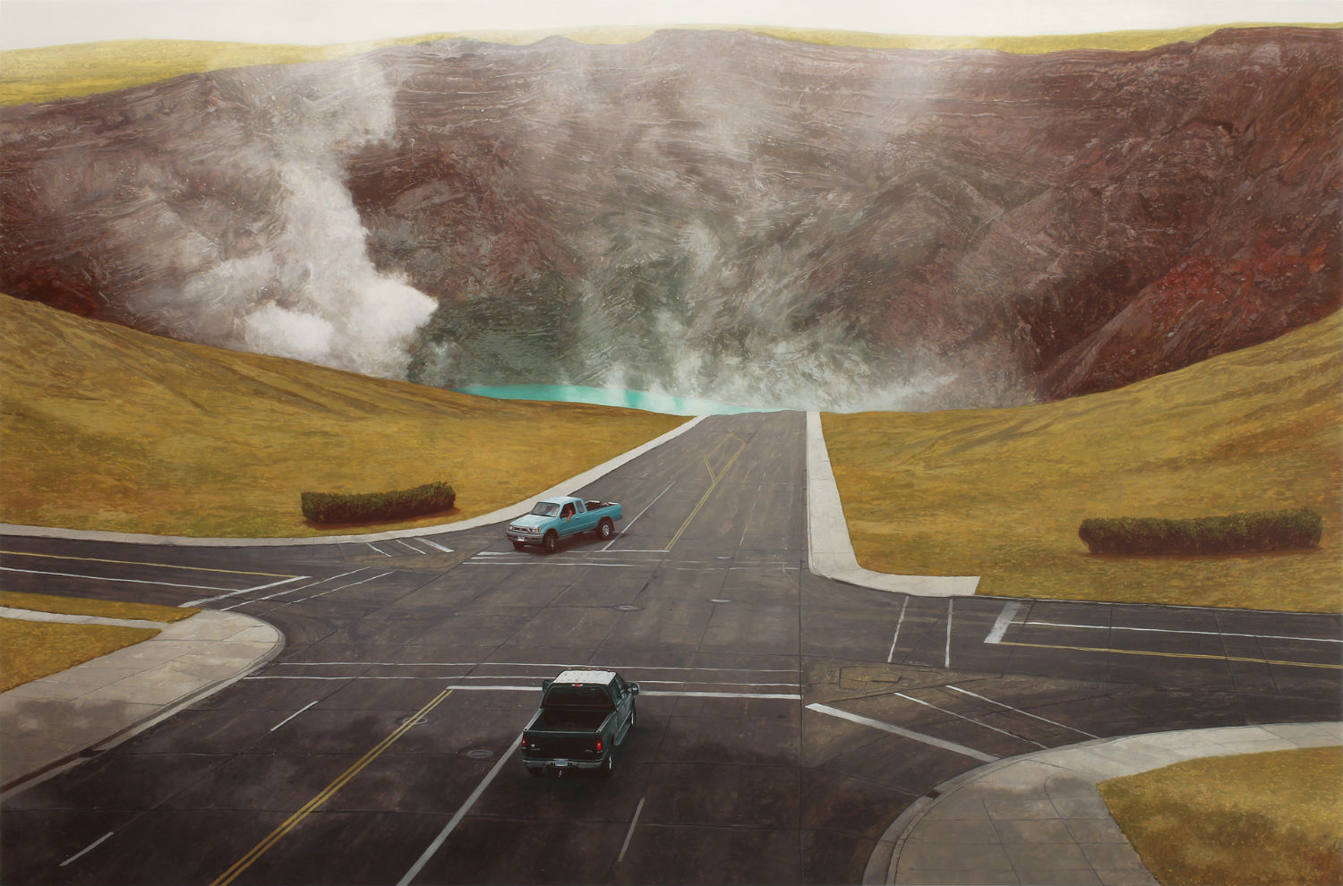 alex roulette painting hyper real landscape colour car road
