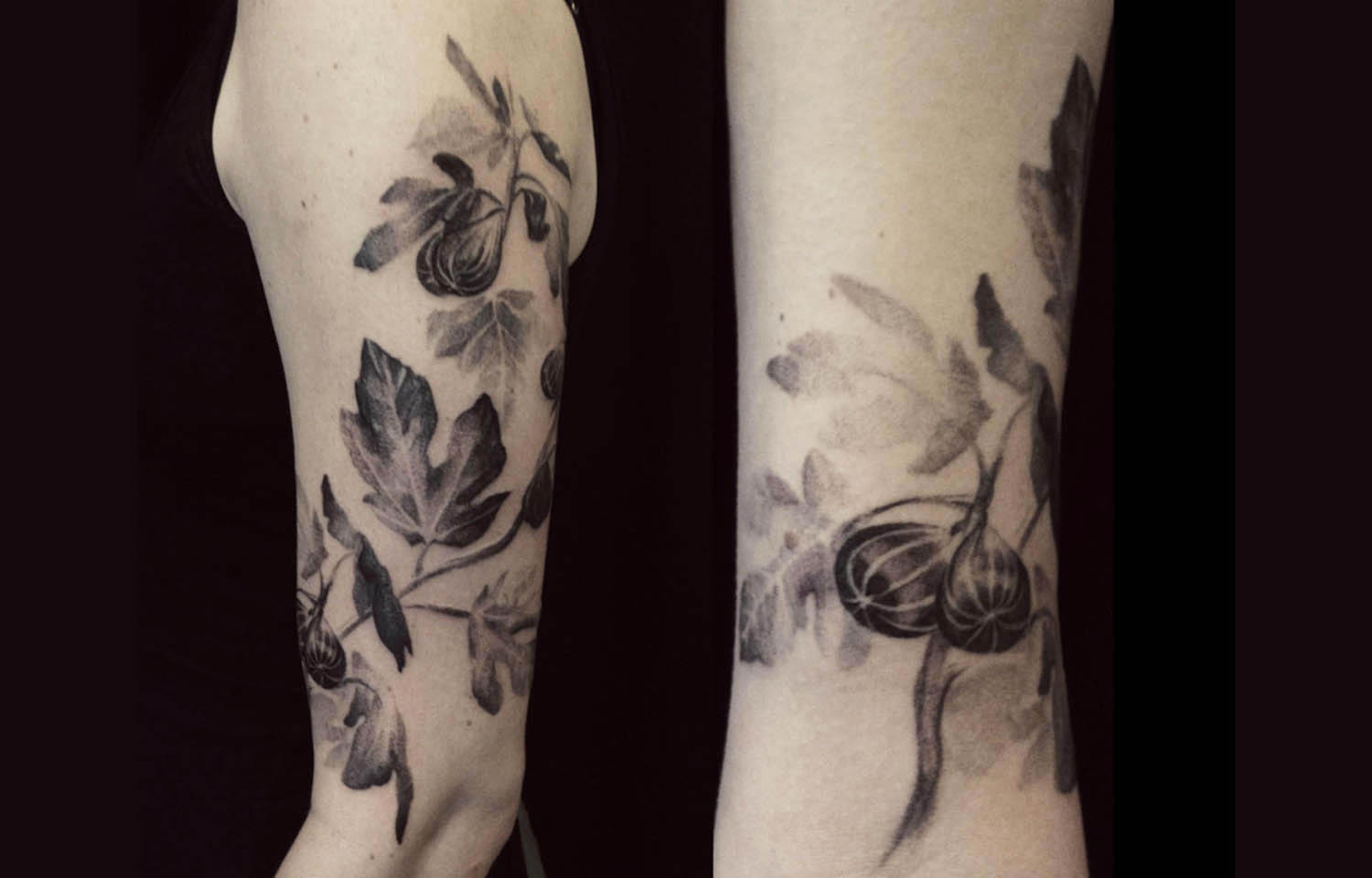 soft flower tattoo black and grey