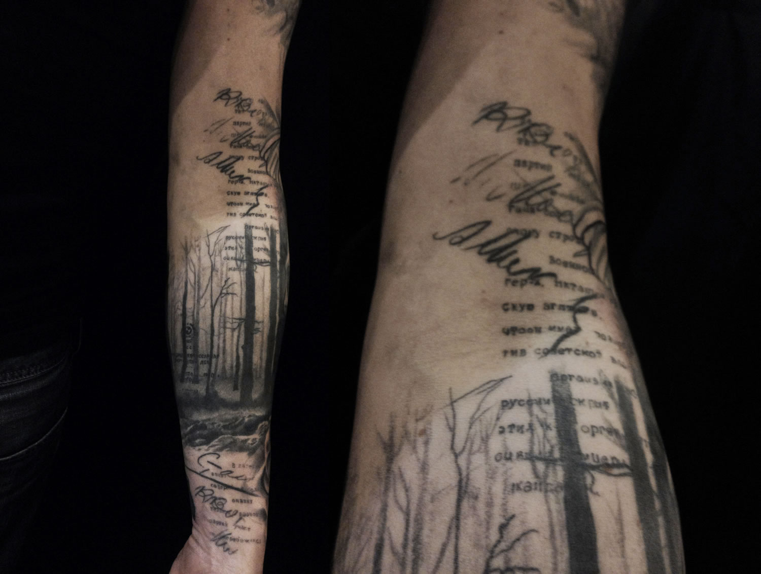 trees and sketch drawing, scribbles, tattoo