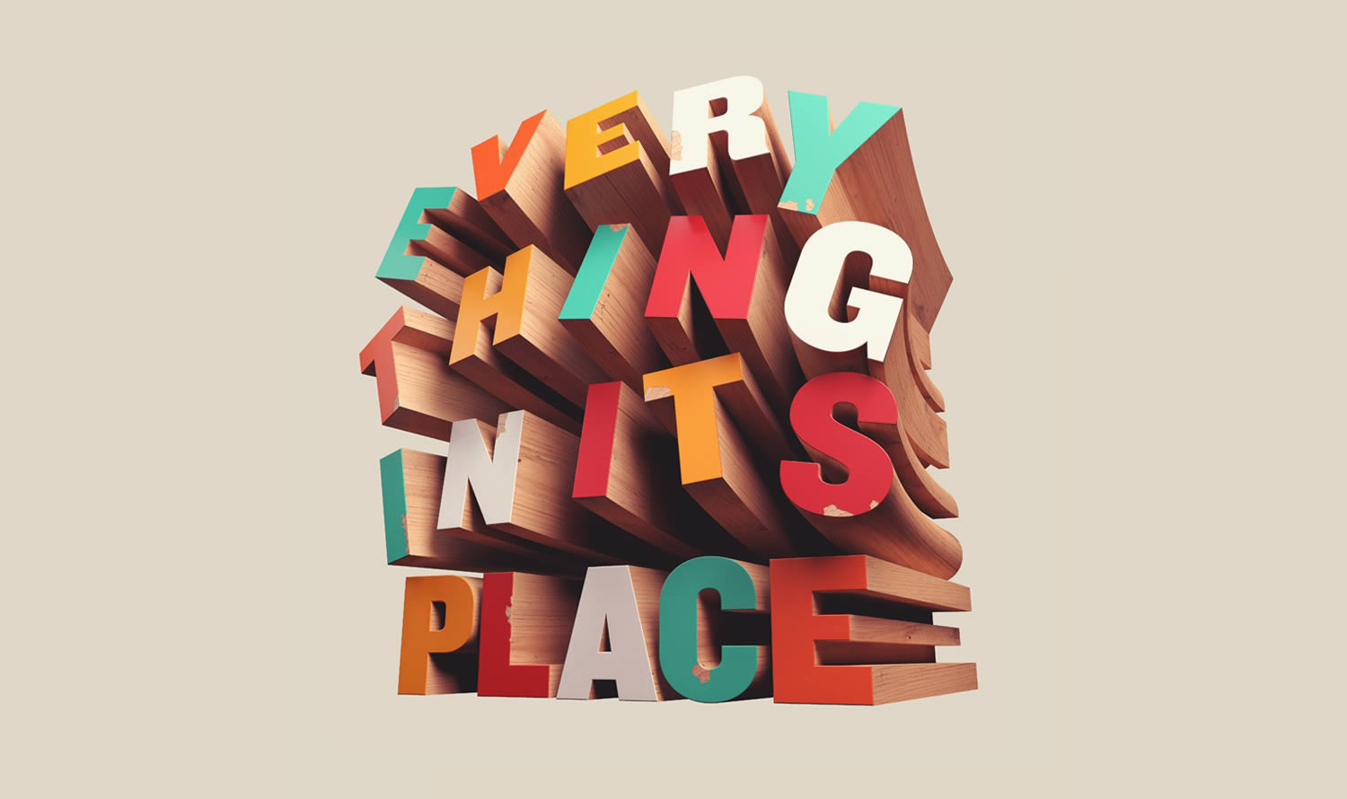 everything in its place, typography in wood