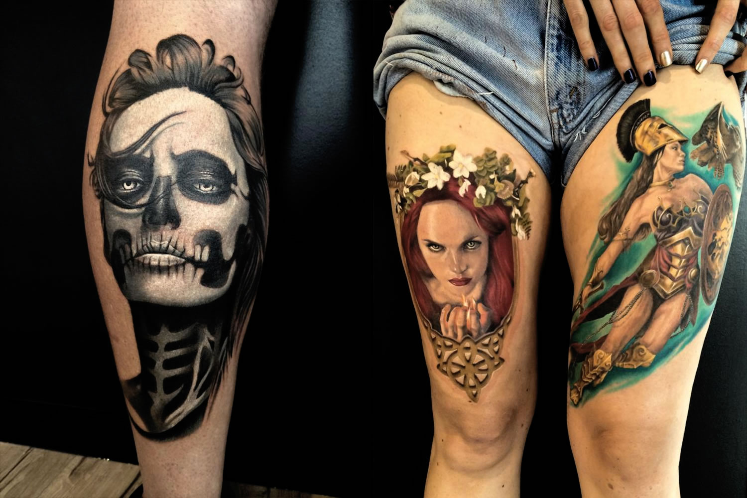 day of the dead face painting and red hair girl portrait tattoos