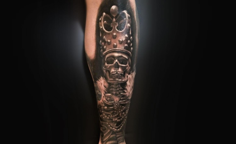 king skeleton tattoo