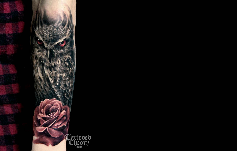 owl and rose tattoo