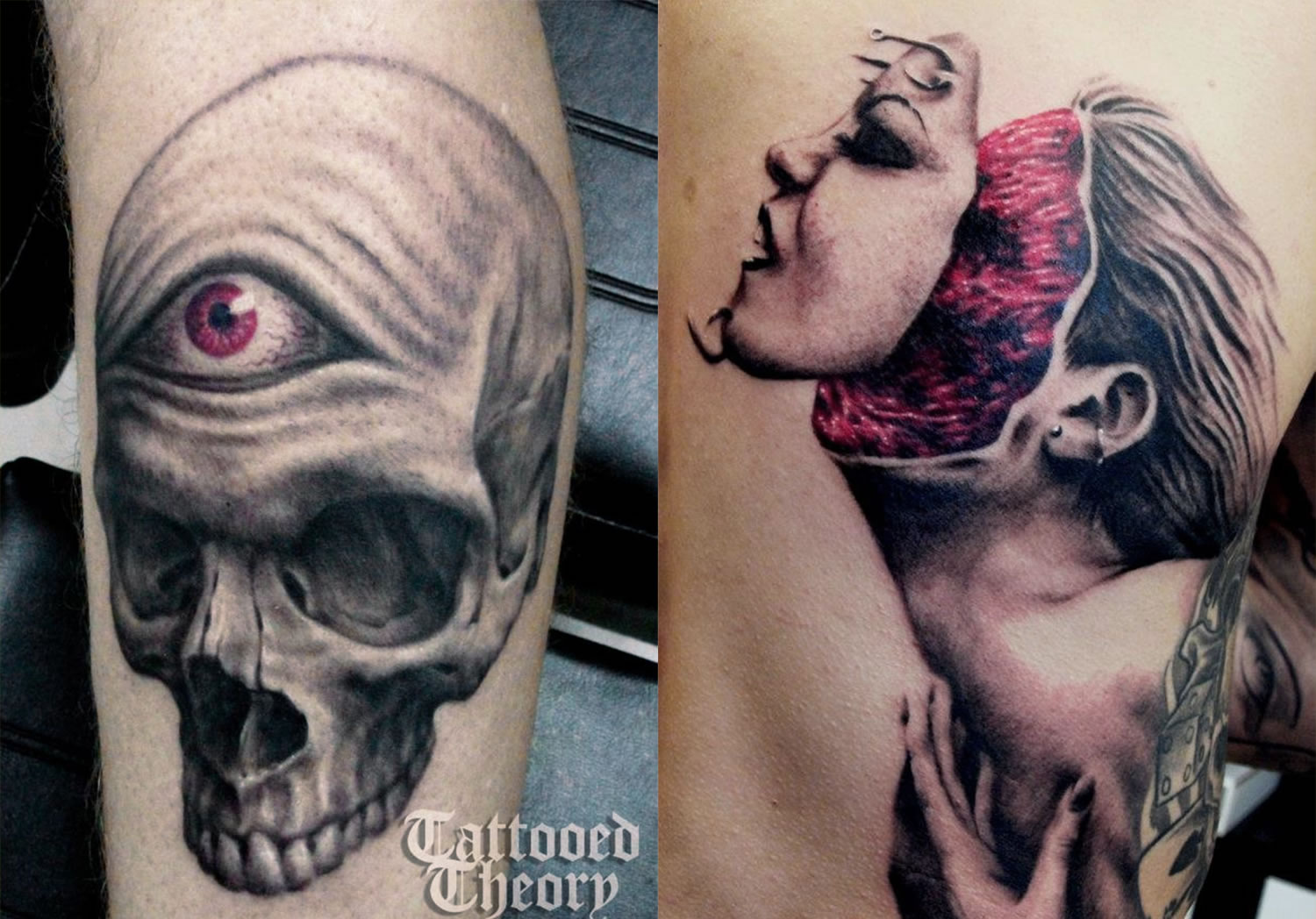 skull with cyclop eye and woman's faced teared off tattoos