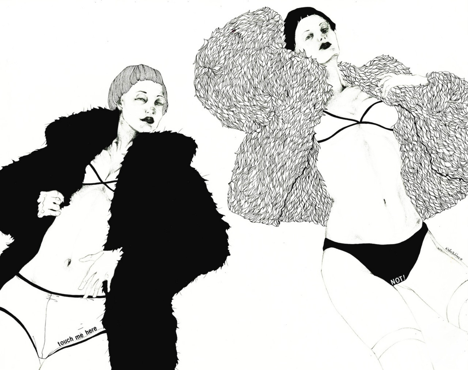 kaethe butcher illustration black white erotic nude