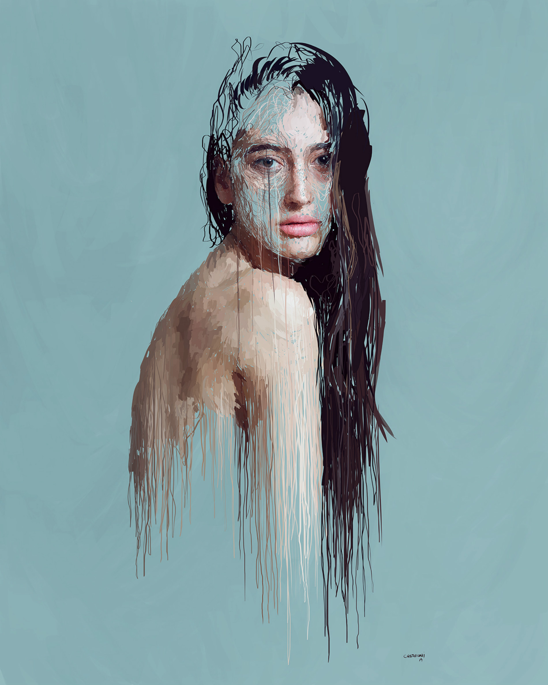 Drip-effect Portraits by Marcello Castellani