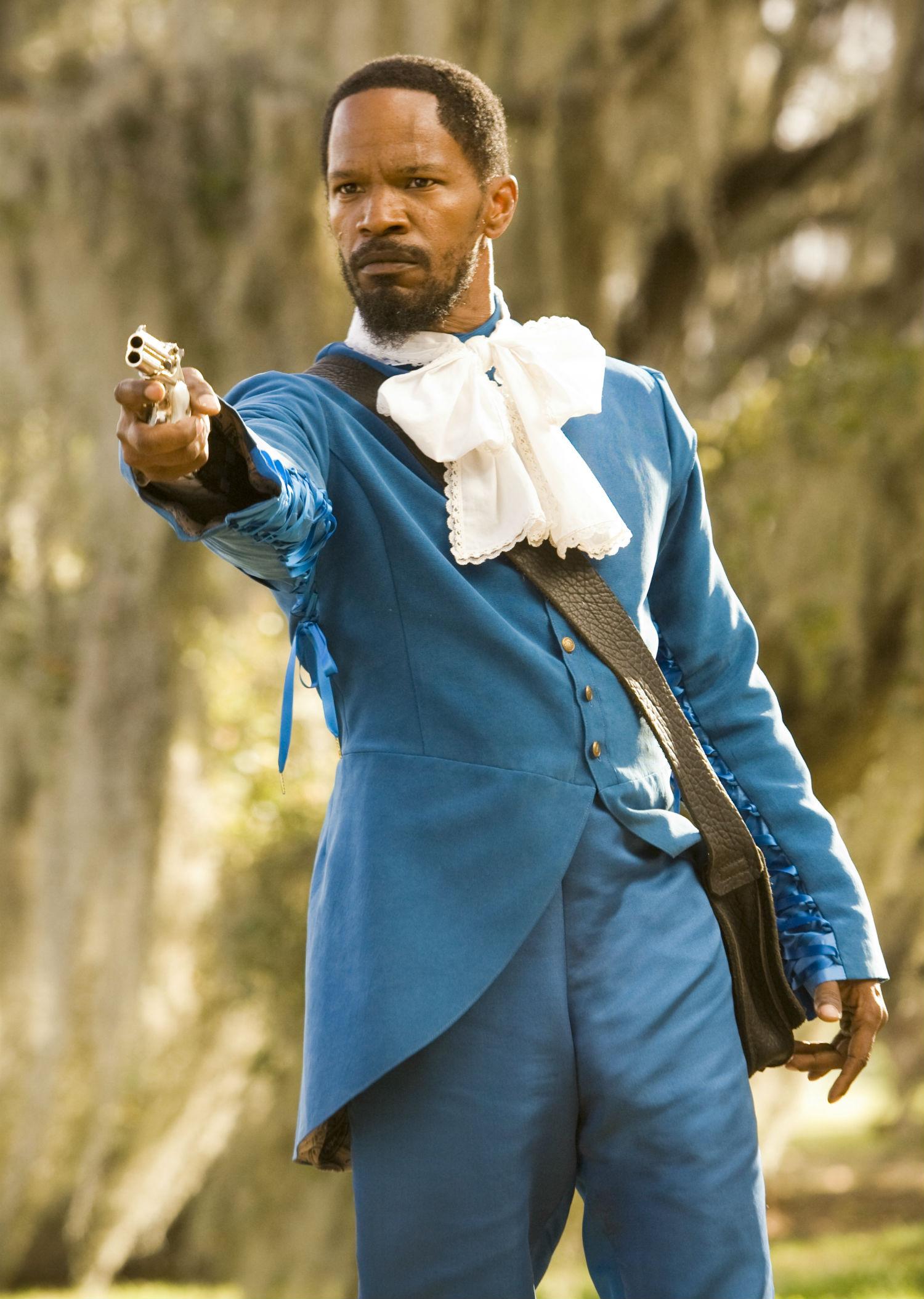 django unchained jamie foxx blue suit
