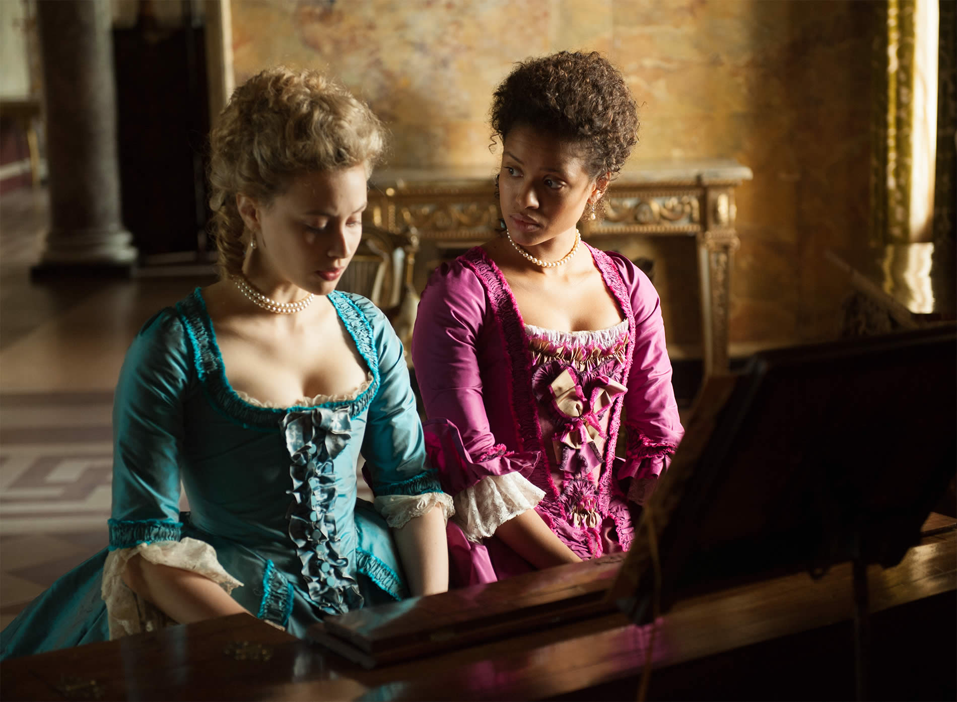 woman playing piano in movie, belle 2013