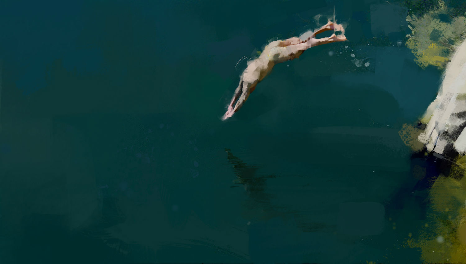 pedro covo painting green swimmer nude dive
