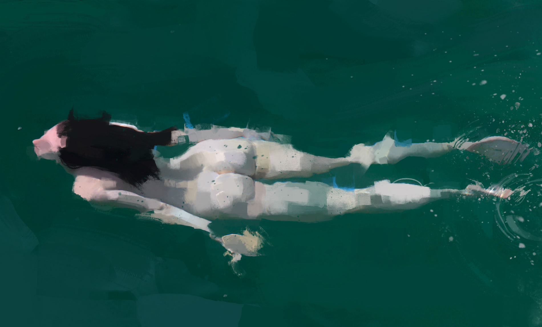pedro covo painting green swimmer nude