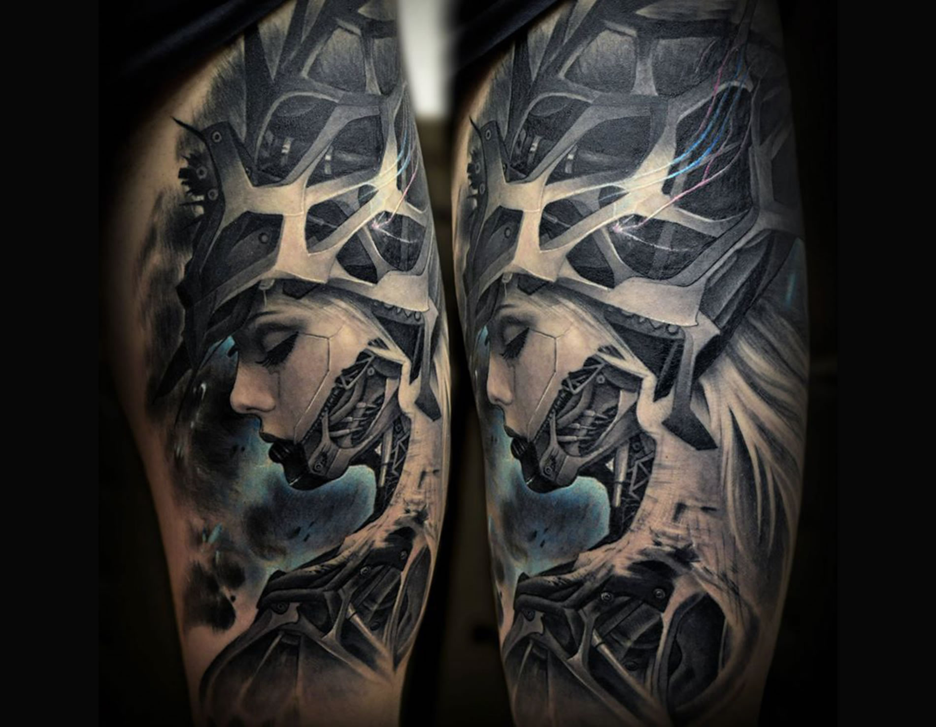 incredible biomechanical tattoo of a woman