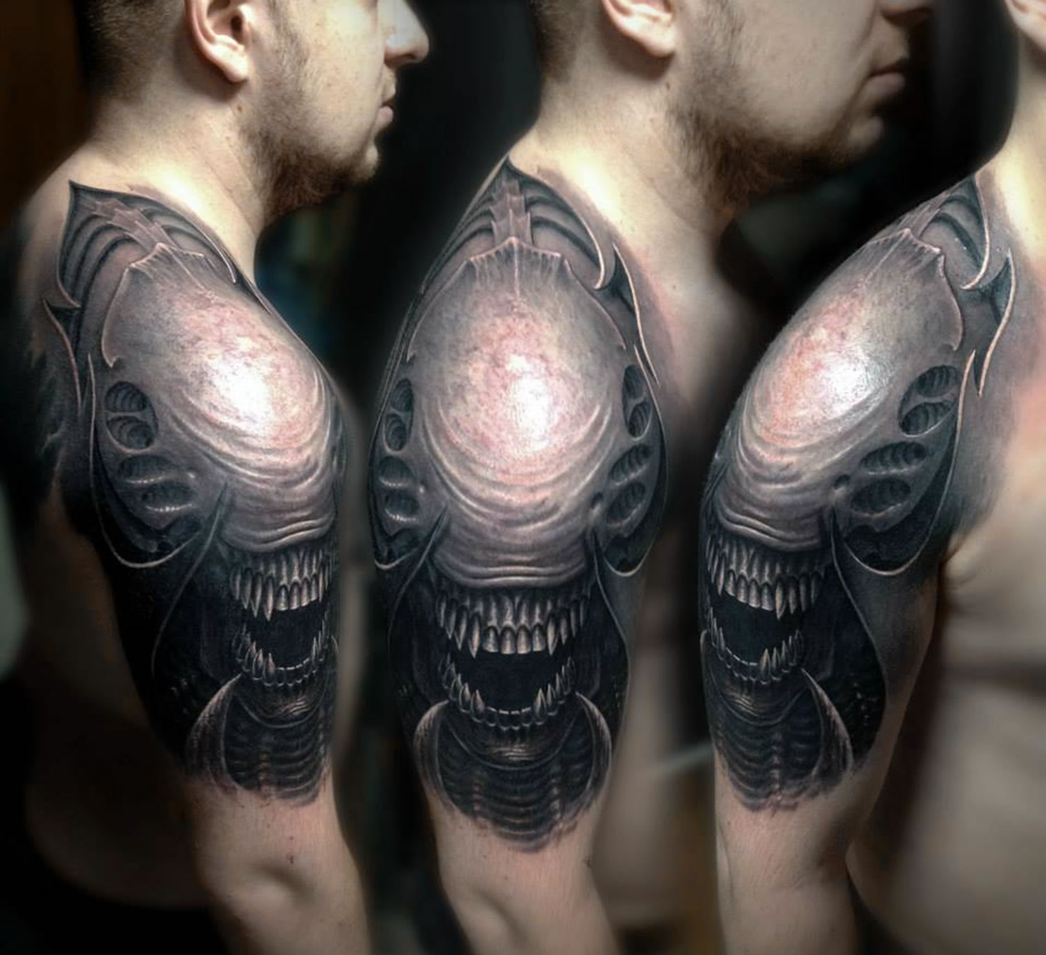 alien movie creature tattooed on arm, giger influence