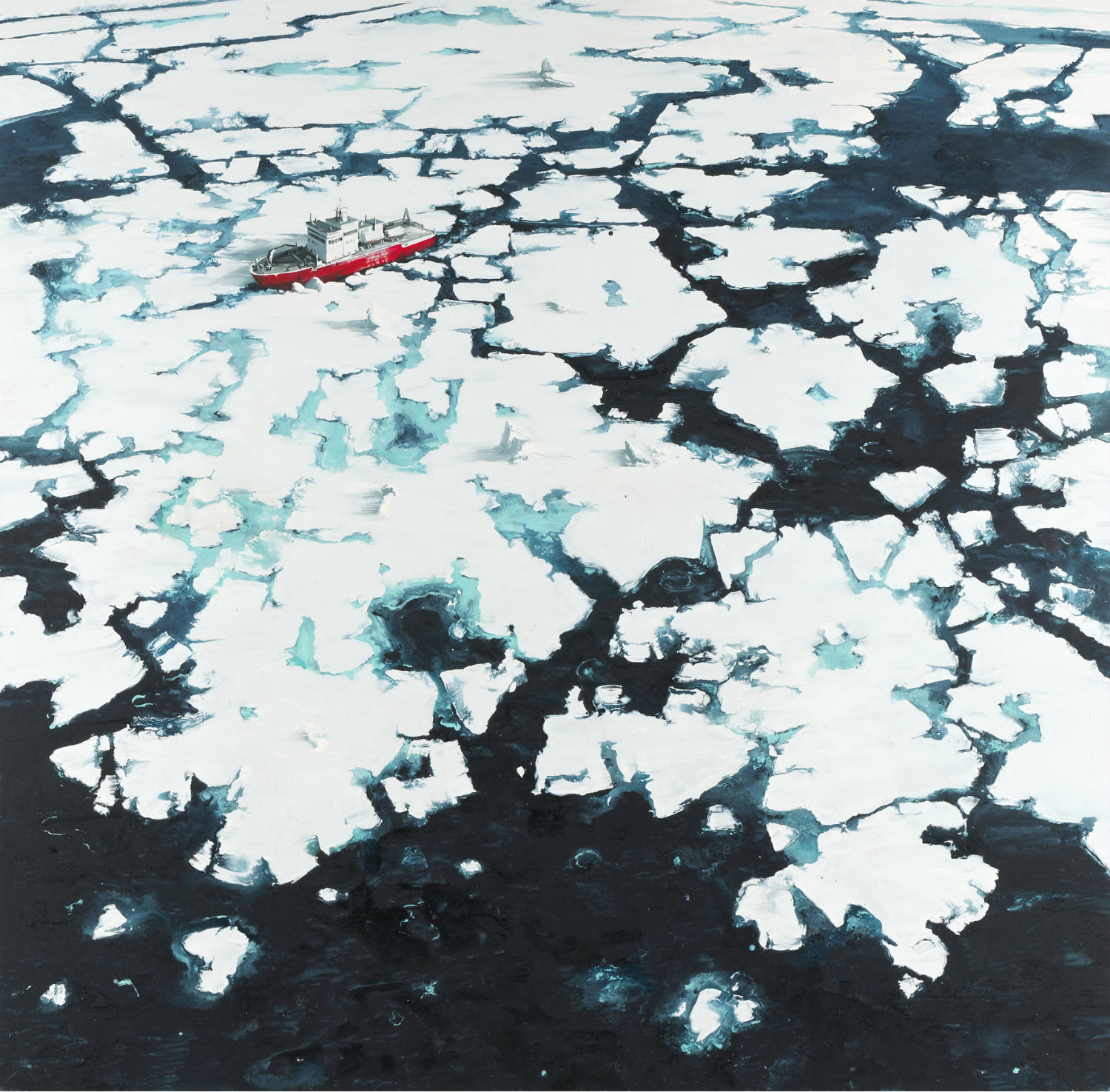 sven kroner painting landscapes apocalyptic earth  ice snow