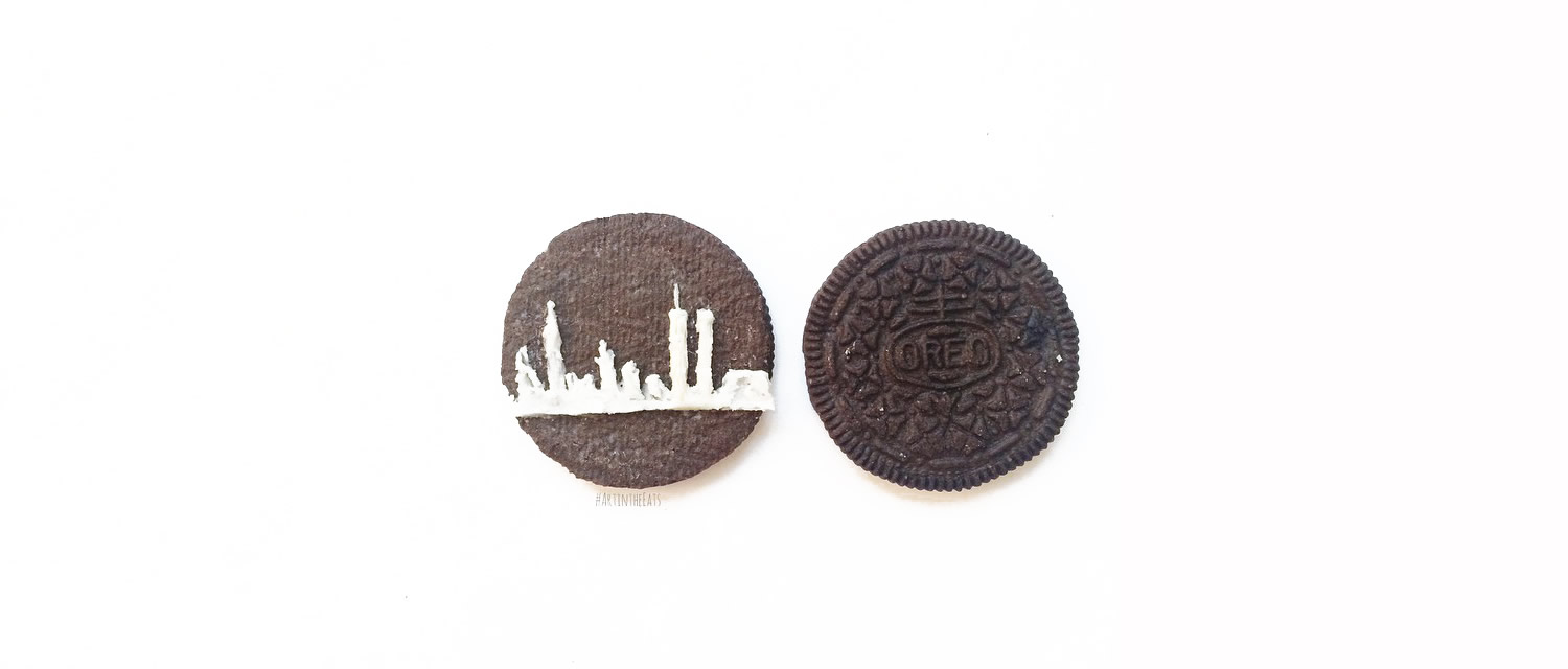 city skyline in oreo cream