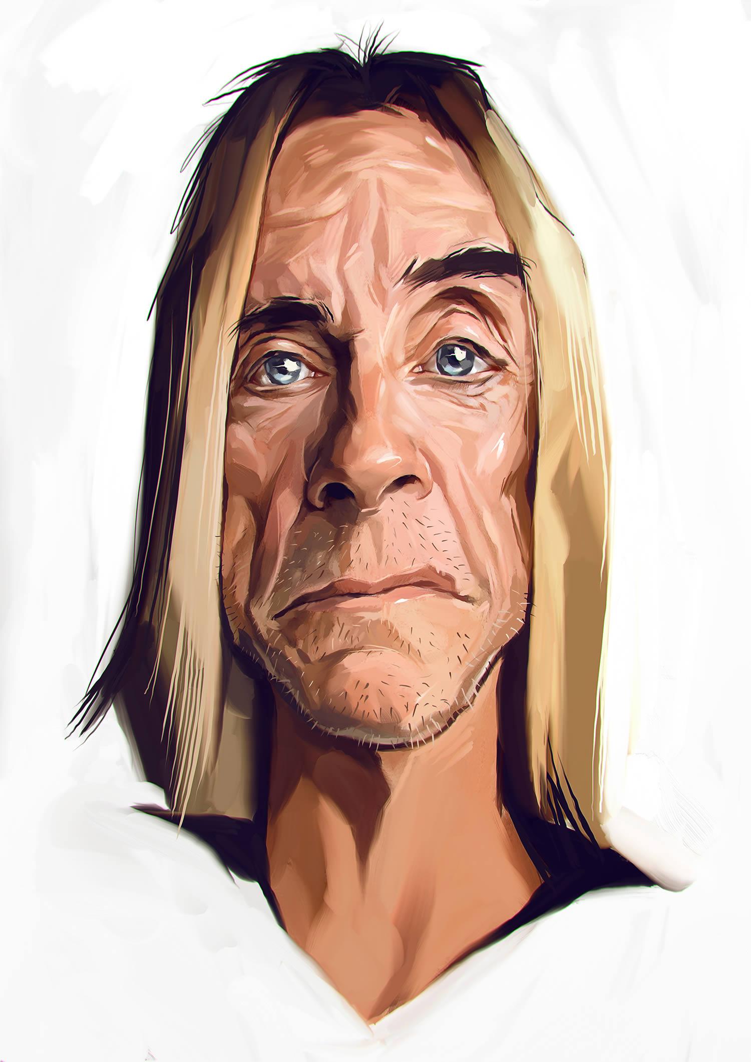 iggy pop making a face, caricature