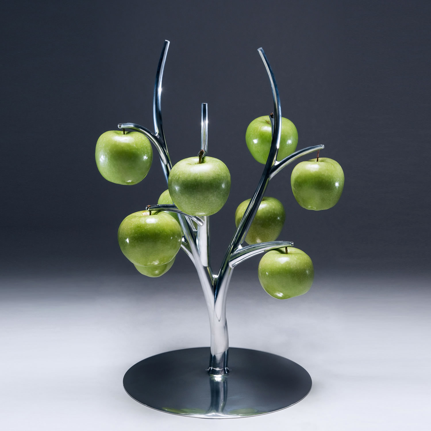 """A modern twist on the traditional fruit bowl, this unique item titled """"Eva"""" was envisioned by Simon Colabufalo."""